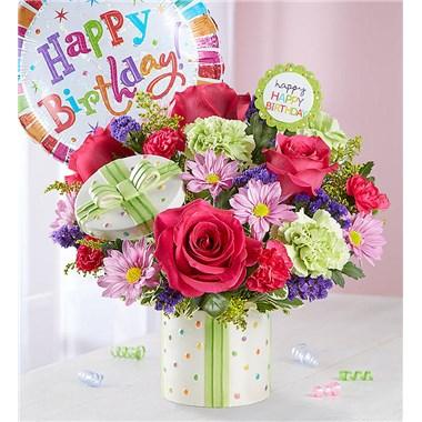 1 800 FlowersR Happy Birthday Present Bouquet W Balloon